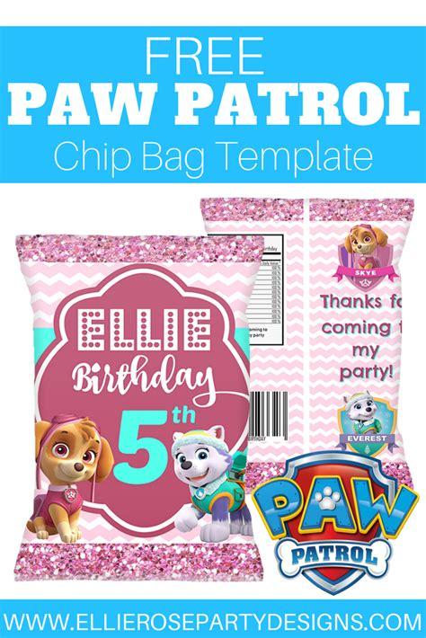 skye everest paw patrol chip bag template printable