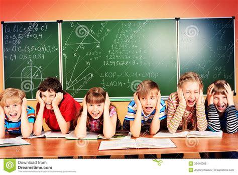 tired schoolchildren stock image image  boys learn