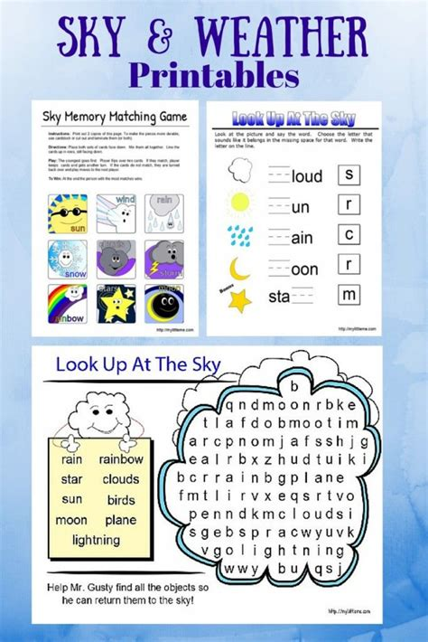 weather and sky printables crafts and activities for weather activities for