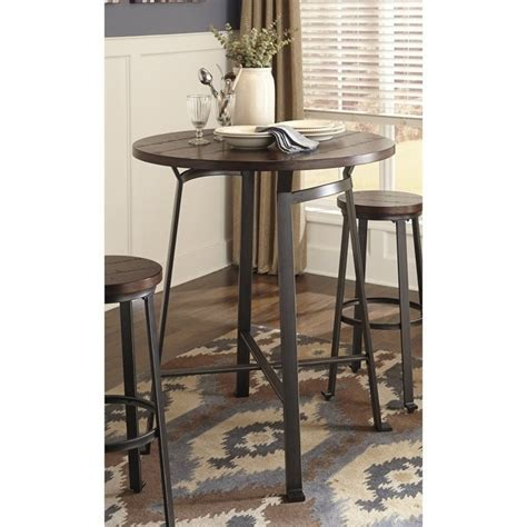 Ashley Challiman Round Bar Height Dining Table in Rustic