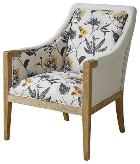 country floral upholstered oak arm chair