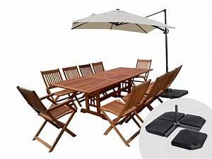Salon De Jardin 10 Places : salon de jardin en bois exotique osaka bali 1 table extensible 10 places parasol ~ Teatrodelosmanantiales.com Idées de Décoration