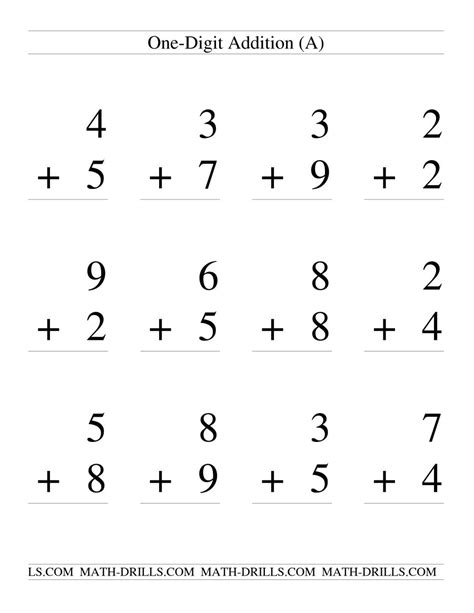 Single Digit Addition  Some Regrouping  12 Per Page (a