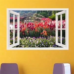 Sticker muraux trompe l'oeil Sticker mural Jardin fleuri Ambiance sticker