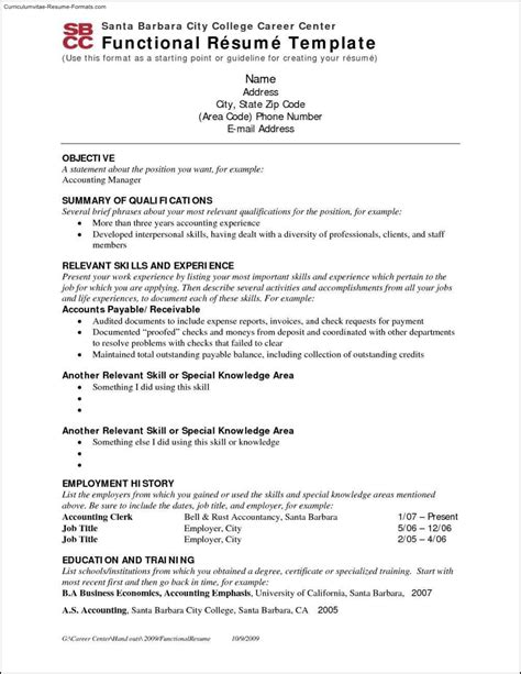 Functional Resume Template by Chrono Functional Resume Template Free Sles