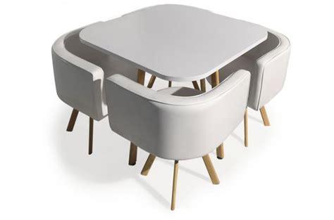 table a manger avec chaise table avec chaises encastrables scandinaves blanc