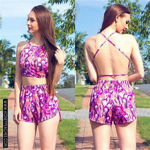 Top purple print summer sets crop tops two-piece summer outfits high waisted shorts ...