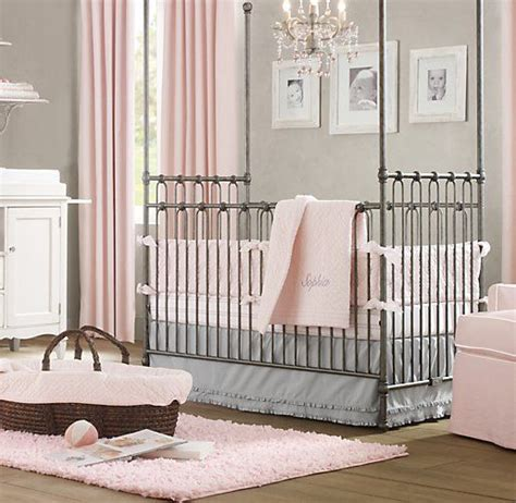 restoration hardware crib bedding heirloom quilted voile european heirloom stripe nursery