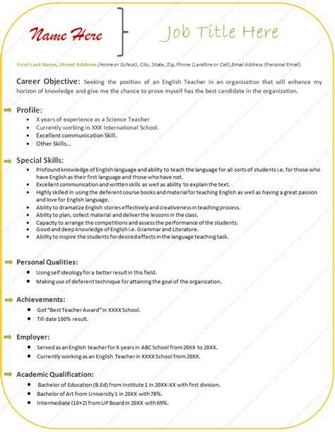 cv templates microsoft office word 2007 sle resume format for experienced teacher