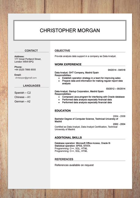 Professional Cv Template Word Document by Cv Resume Templates Exles Doc Word