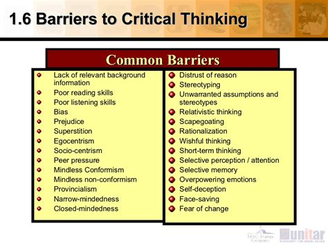 16 Barriers To Critical Thinking
