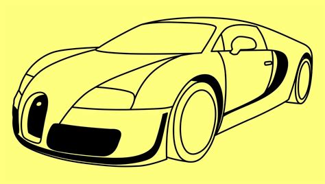 How To Draw A Car Bugatti Veyron Fast And Furious 7 Step