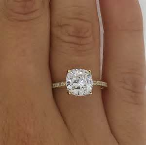 cushion cut engagement rings solitaire 2 50 ct cushion cut vs solitaire engagement ring 14k gold