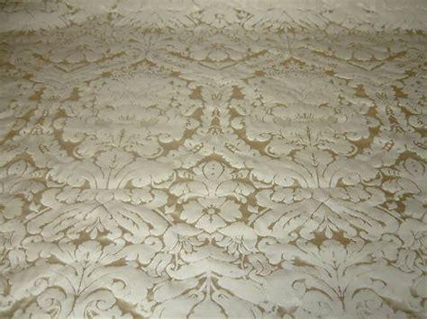 Damask Faux Silk Dupion Curtain Fabric Cream Per M