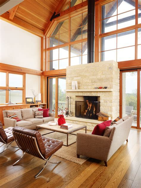 pictures of stone fireplaces Living Room Farmhouse with
