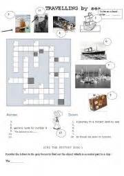 Parts Of A Boat Crossword by Worksheets Travelling By Sea Crosswords