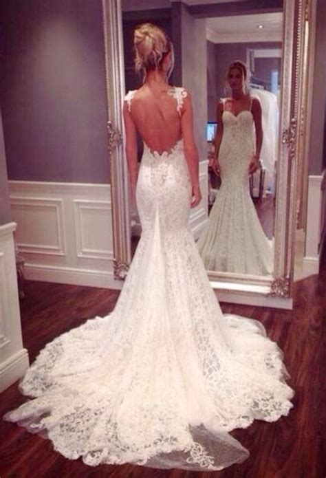 open back spaghetti dress lace spaghetti mermaid wedding dress