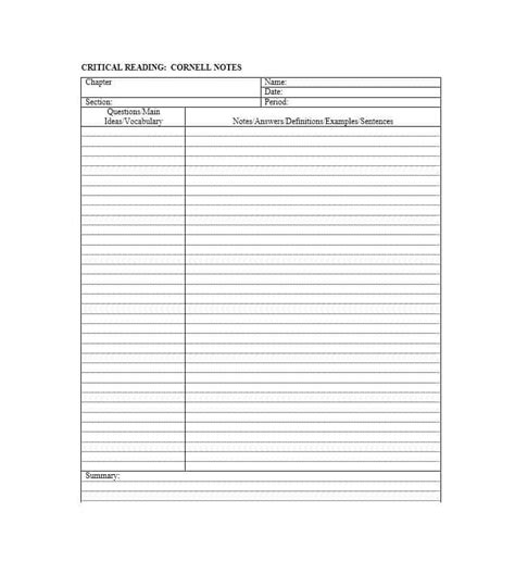 notes template word 36 cornell notes templates exles word pdf template lab
