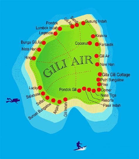 map  gili air hotels bungalows boutique resorts