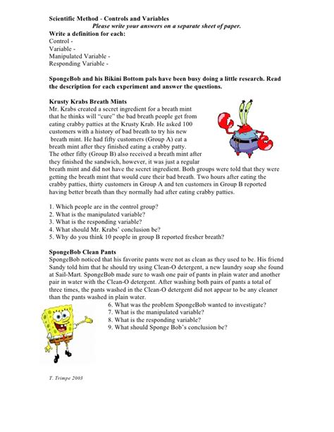 Independent And Dependent Variables Worksheet Answers  Kidz Activities