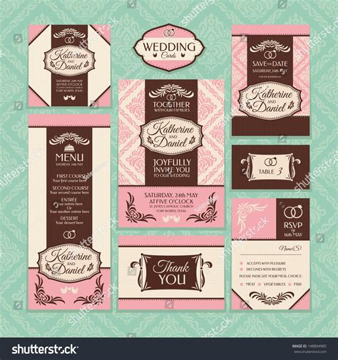Set 4 Of Wedding Cards. Wedding Invitations, Thank You