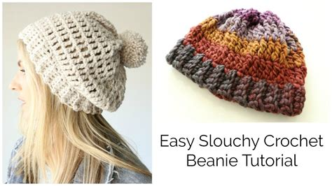 easy slouchy crochet beanie tutorial treble stitch youtube