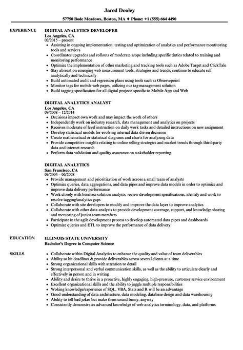 Resume For Analytics by Digital Analytics Resume Sles Velvet
