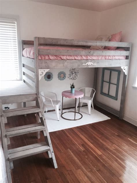 twintwin xl rustic chic loft bed  stairs