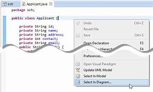 How To Select Uml Class From Source Code In Eclipse