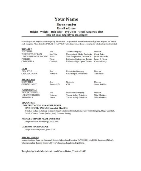 Theater Resume Exle technical theatre resume template the general format and