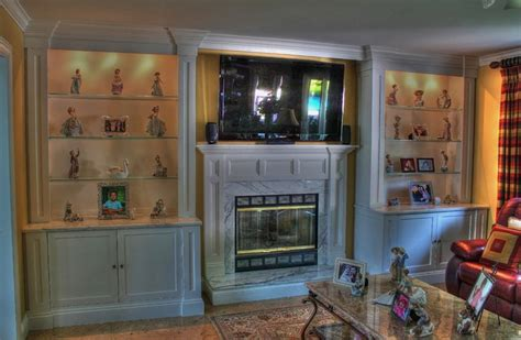 wall unit fireplace mantel eclectic family room