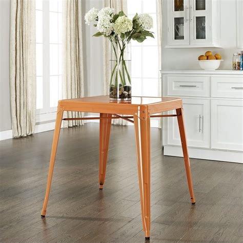 crosley furniture amelia metal cafe dining table in orange