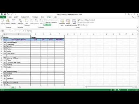 prepare bill  quantity boq  excel sheet youtube