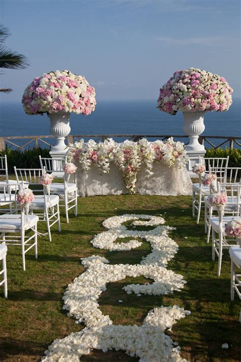 White And Pink Wedding Ceremony Decor A Terrace On The