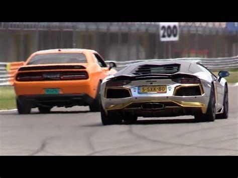 Challenger Hellcat Vs Lamborghini by Lamborghini Aventador Vs Dodge Challenger Srt Hellcat Vs