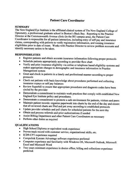 resume templates administrative coordinator job description 2016 patient care coordinator resume sle slebusinessresume com slebusinessresume com