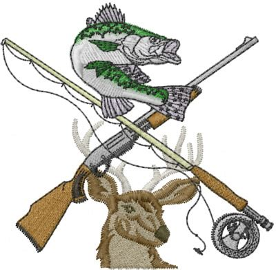 Fishing And Hunting Embroidery Designs, Machine Embroidery