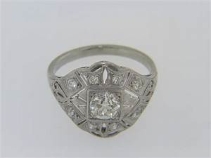 antique old mine cut hand tooled diamond estate ring in With tooled wedding rings