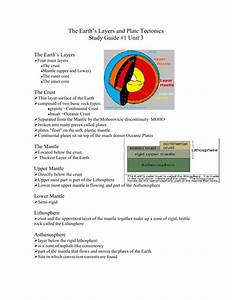 The Earth S Layers And Plate Tectonics Study Guide  1 Unit 3
