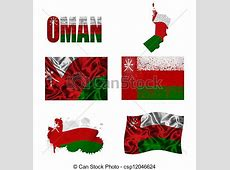 Omani flag collage Oman flag and map in different styles