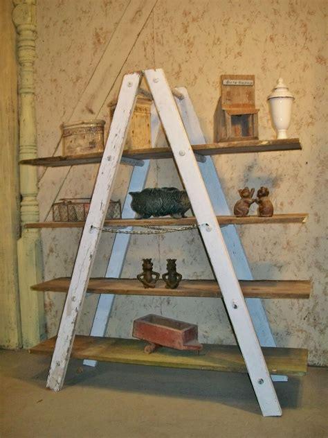 shaped wooden ladder rustic shelving  rung wooden