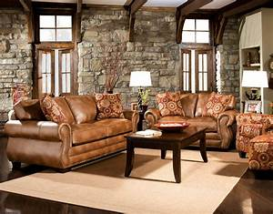 Brown leather sofa with impressive interior layout traba for Living room furniture sets made in usa