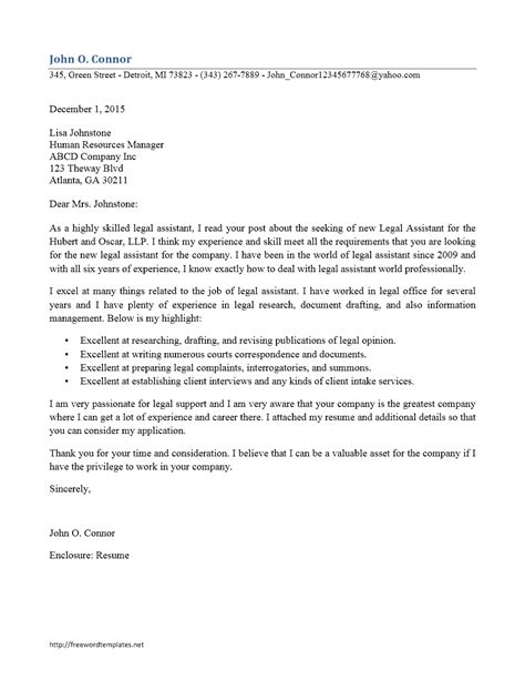 experienced legal secretary cover letter cover letter