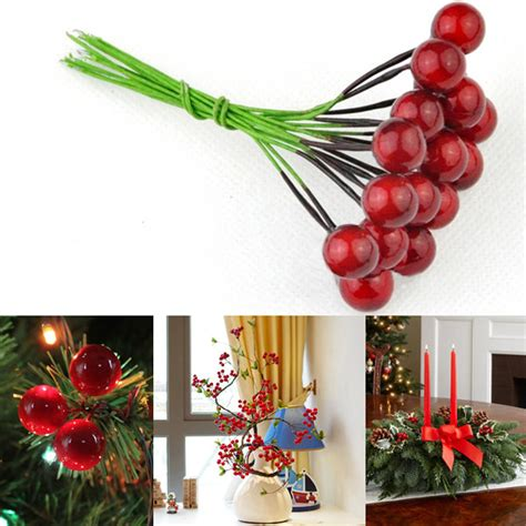 10pcs artificial red fruit cherries holly berries