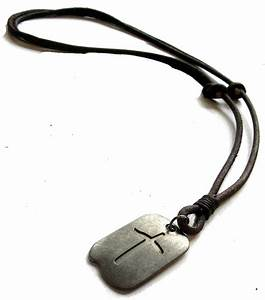 vintage cross dog tag adjustable leather necklace mens With mens letter necklace