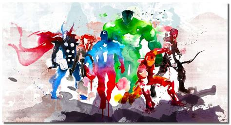 abstract watercolor marvel avengers super hero wall canvas