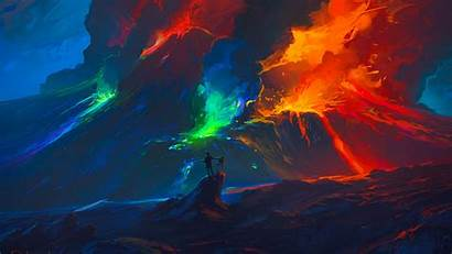 Colorful Artist Waves Fantasy Background Widescreen