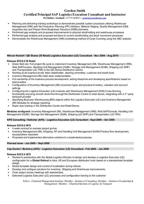 sap wm consultant sle resume sap logistics execution consultant cv