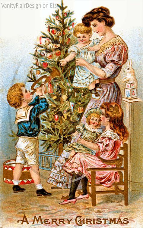 digital vintage victorian christmas post card fronts