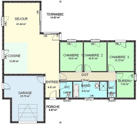 plan de maison plain pied 3 chambres gratuit plan de maison ossature bois plain pied 28 images